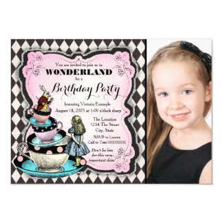 Alice in Wonderland Birthday Party Card