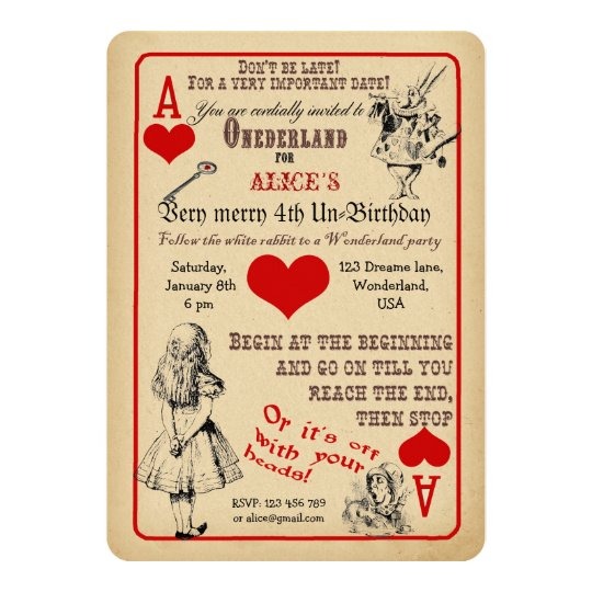 Alice in Wonderland Birthday Party Invitation