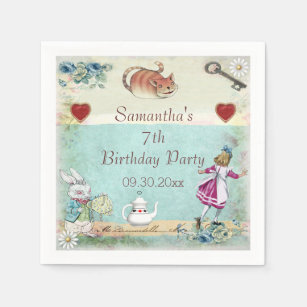 Alice In Wonderland Birthday Party Personalized Paper Napkin