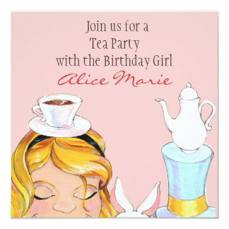 Alice In Wonderland Birthday Tea Party Invite