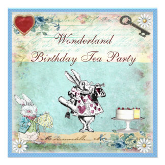 Alice in Wonderland Birthday Tea Party Invites