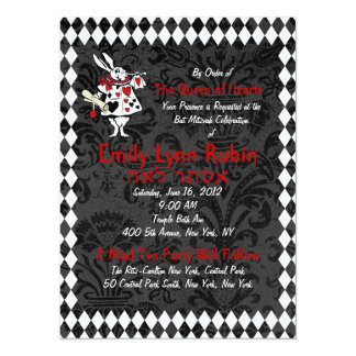 Alice in Wonderland Black Party Invitation