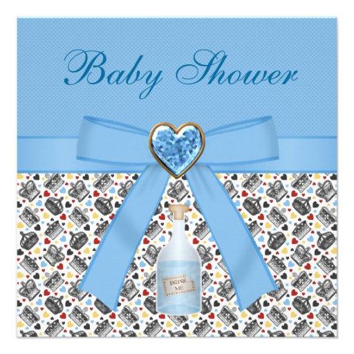 Alice in Wonderland Blue Baby Shower Tea Party Custom Announcements