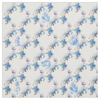Alice in Wonderland Blue Floral Fabric