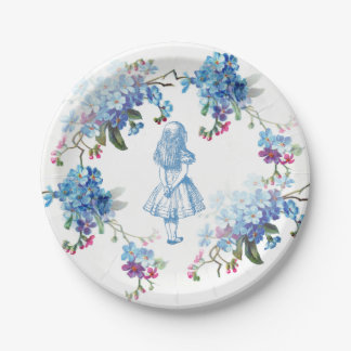 Alice in Wonderland Blue Floral Paper Plate