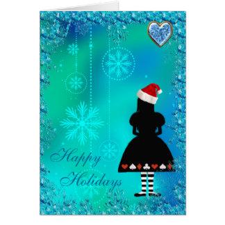 Alice in Wonderland Blue Sequins Christmas Card