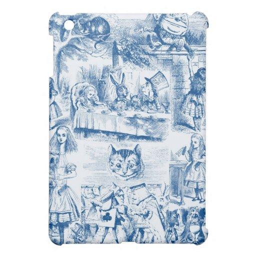 Alice In Wonderland Blue & White Toils iPad Mini Cover