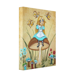 Alice in Wonderland Bread and Butter Flies Canvas Print