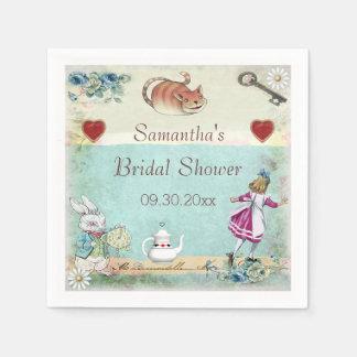 Alice in Wonderland Bridal Shower Personalized Standard Cocktail Napkin