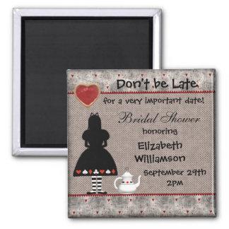 Alice in Wonderland Bridal Shower Save the Date Square Magnet
