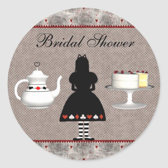 Alice in Wonderland Bridal Shower Tea Party Classic Round Sticker