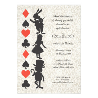 Alice in Wonderland Cards Tea Party Birthday Personalized Invite