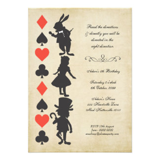 Alice in Wonderland Cards Tea Party Birthday Personalized Announcements