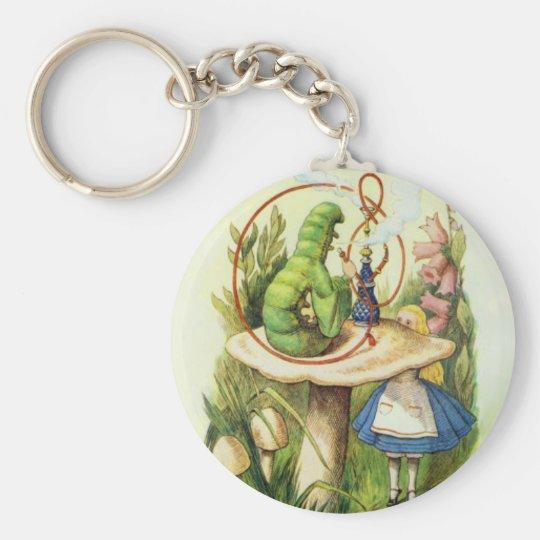 Alice in Wonderland Caterpillar Hookah Button Basic Round Button Key Ring