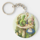 Alice in Wonderland Caterpillar Hookah Button Key Ring