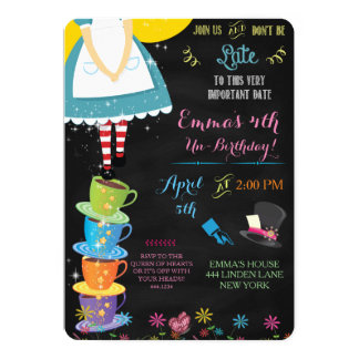 Alice in Wonderland Chalkboard Birthday Invitation