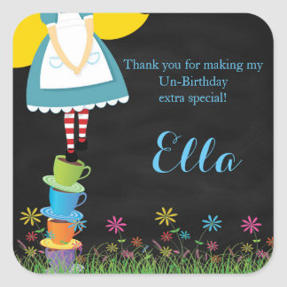 Alice in Wonderland Chalkboard Favor Stickers