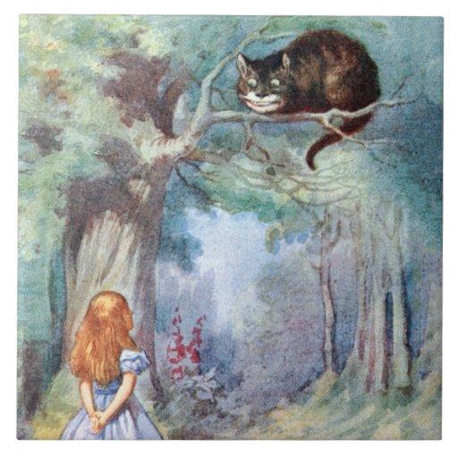 Alice in Wonderland Cheshire Cat Art Tile Trivet