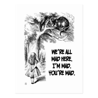 Alice in Wonderland Cheshire Cat Items Postcard