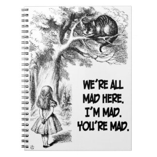 Alice in Wonderland Cheshire Cat Items Spiral Notebooks