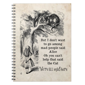 Alice in Wonderland; Cheshire Cat with Alice Note Books