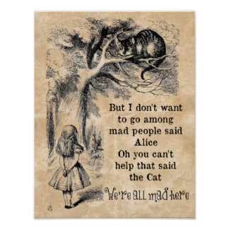 Alice in Wonderland; Cheshire Cat with Alice Poster