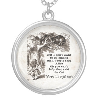 Alice in Wonderland; Cheshire Cat with Alice Silver Plated Necklace