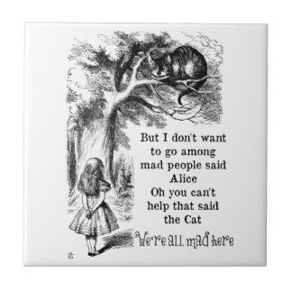 Alice in Wonderland; Cheshire Cat with Alice Small Square Tile