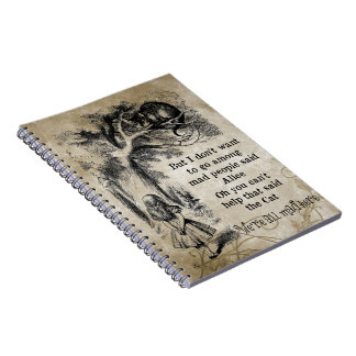Alice in Wonderland; Cheshire Cat with Alice Spiral Notebook