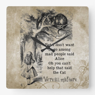 Alice in Wonderland; Cheshire Cat with Alice Square Wall Clock