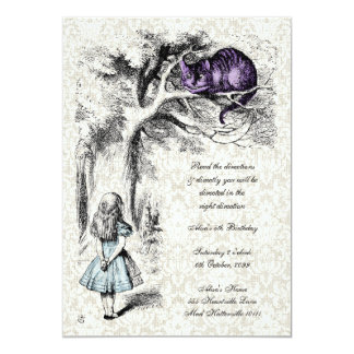 Alice in Wonderland Cheshire Tea Party Birthday 13 Cm X 18 Cm Invitation Card