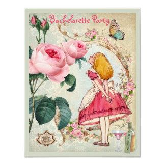 Alice in Wonderland Collage Bachelorette Party 11 Cm X 14 Cm Invitation Card