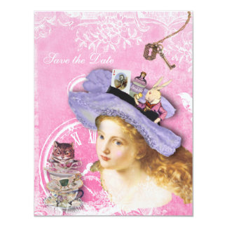 Alice in Wonderland Collage Save the Date Wedding 11 Cm X 14 Cm Invitation Card