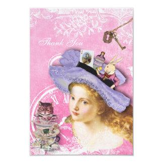 Alice in Wonderland Collage Thank You Wedding 9 Cm X 13 Cm Invitation Card