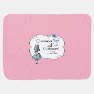 Alice in Wonderland Curiouser Pink Baby Blanket