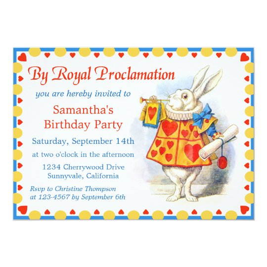 Alice in Wonderland Custom Birthday Party Invites