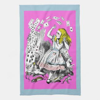 Alice in Wonderland Deck of Cards Pink Tea Towel