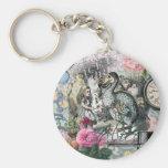 Alice in Wonderland Dodo  Vintage Pretty Collage Basic Round Button Key Ring
