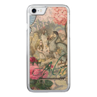 Alice in Wonderland Dodo  Vintage Pretty Collage Carved iPhone 7 Case