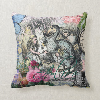 Alice in Wonderland Dodo  Vintage Pretty Collage Cushion