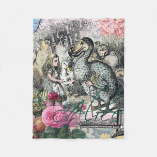 Alice in Wonderland Dodo  Vintage Pretty Collage Fleece Blanket