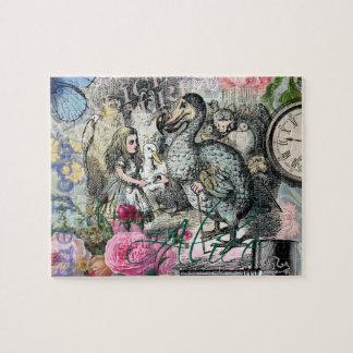 Alice in Wonderland Dodo  Vintage Pretty Collage Jigsaw Puzzle