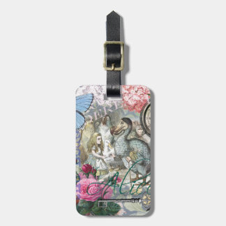 Alice in Wonderland Dodo  Vintage Pretty Collage Luggage Tag