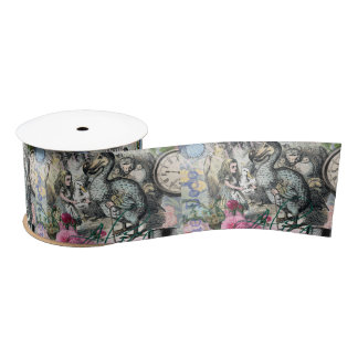 Alice in Wonderland Dodo  Vintage Pretty Collage Satin Ribbon