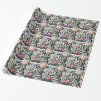 Alice in Wonderland Dodo  Vintage Pretty Collage Wrapping Paper