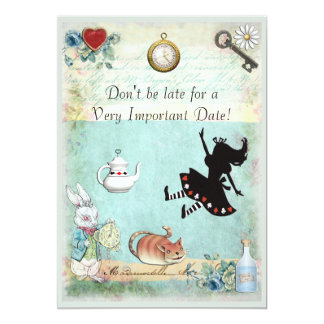 Alice in Wonderland Don't Be Late Baby Shower 13 Cm X 18 Cm Invitation Card