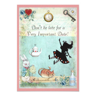 Alice in Wonderland Don't Be Late Baby Shower Pink Card