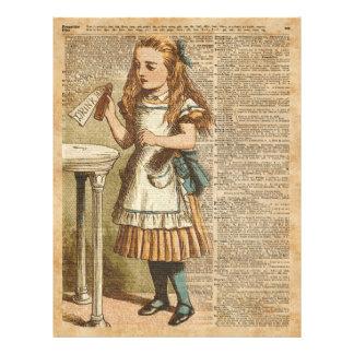 Alice In Wonderland Drink Me Vintage Book Page Art 21.5 Cm X 28 Cm Flyer