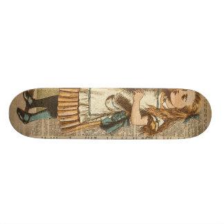 Alice In Wonderland Drink Me Vintage Book Page Art Custom Skate Board
