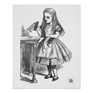 Alice in Wonderland Drink Me vintage goth print